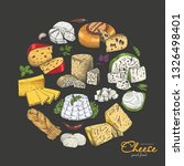 vector background with cheeses... | Shutterstock .eps vector #1326498401