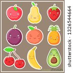 funny kawaii stickers with... | Shutterstock .eps vector #1326544664