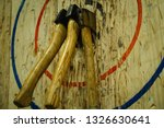 Axe Stick In To The Wood Bull's ...