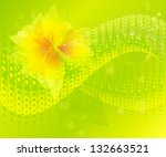 green background with a flower