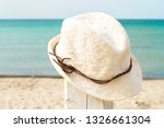 Boho Style White Straw Hat On A ...