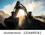 Yellow Big Excavator In The...
