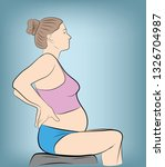 pregnant woman sitting. holding ...   Shutterstock .eps vector #1326704987