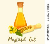 mustard oil in glassware bottle ... | Shutterstock .eps vector #1326774581