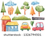 watercolor hand painted houses  ... | Shutterstock . vector #1326794501