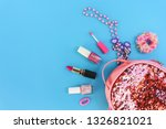 female backpack with cosmetics... | Shutterstock . vector #1326821021