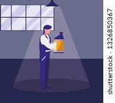 mechanic worker with oil gallon | Shutterstock .eps vector #1326850367
