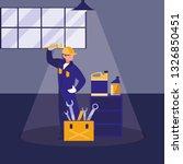 mechanic worker with oil gallon | Shutterstock .eps vector #1326850451