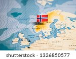 the Flag of norway in the world map