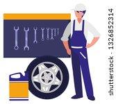 mechanic worker with tire car... | Shutterstock .eps vector #1326852314