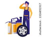 mechanic worker with tire car... | Shutterstock .eps vector #1326852317