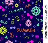 cute colorful summer pattern... | Shutterstock .eps vector #132685391