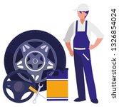 mechanic worker with tire car... | Shutterstock .eps vector #1326854024