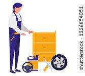 mechanic worker with tire car... | Shutterstock .eps vector #1326854051
