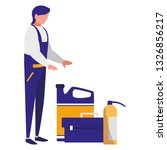 mechanic worker with toolbox... | Shutterstock .eps vector #1326856217