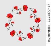Red Poppy Flower . Floral Frame....
