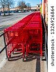 vertical shot of bright red... | Shutterstock . vector #1326926864