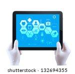 medicine doctor hand  shows... | Shutterstock . vector #132694355