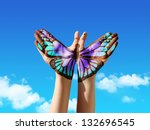 hand and butterfly hand... | Shutterstock . vector #132696545