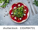 beetroot carpaccio on a plate | Shutterstock . vector #1326984731