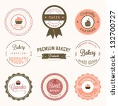 cupcakes bakery labels set | Shutterstock .eps vector #132700727