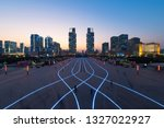 zhengzhou landmark twin tower | Shutterstock . vector #1327022927