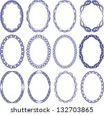 set of decorative oval borders | Shutterstock .eps vector #132703865