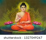 meditating lord buddha texture... | Shutterstock . vector #1327049267