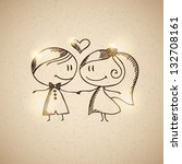 hand drawn wedding couple on... | Shutterstock . vector #132708161