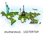 travel the world monuments... | Shutterstock . vector #132709769
