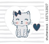 cute cat with heart on striped...   Shutterstock .eps vector #1327112027