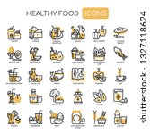 healthy food   thin line and... | Shutterstock .eps vector #1327118624
