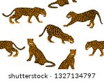 trendy print with leopards.... | Shutterstock .eps vector #1327134797