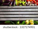 vegetables on wood. organic... | Shutterstock . vector #1327174901
