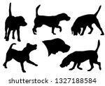 beagle dog running  standing...   Shutterstock .eps vector #1327188584