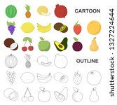 different fruits cartoon icons... | Shutterstock . vector #1327224644