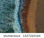aerial view of sandy beach with ... | Shutterstock . vector #1327263164