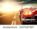 Red Retro Summer Car On Road I...