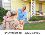 family welcoming husband home... | Shutterstock . vector #132733487