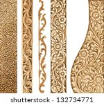 pattern of flower carved on... | Shutterstock . vector #132734771
