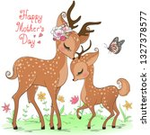 two hand drawn cute deer girls. ... | Shutterstock .eps vector #1327378577