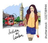 fashion girl in london.vector... | Shutterstock .eps vector #132738944