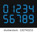 blue led digits. vector... | Shutterstock .eps vector #132742211