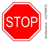 stop sign on white. front.