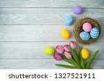 easter holiday background with...   Shutterstock . vector #1327521911