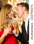 couple  man and woman  drinking ... | Shutterstock . vector #132754271