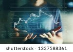 stock market candle chart with... | Shutterstock . vector #1327588361