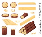 wood plank  logs and trunk ... | Shutterstock .eps vector #1327607711
