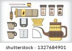 drip coffee maker filled line... | Shutterstock .eps vector #1327684901