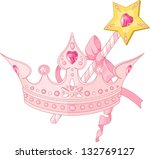 beautiful crown and  magic wand ... | Shutterstock .eps vector #132769127